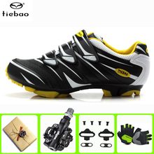 цена на Tiebao cycling shoes sapatilha ciclismo MTB Mountain Bike SPD pedals set Sneakers Men Self-Locking Athletic Riding Bicycle Shoes