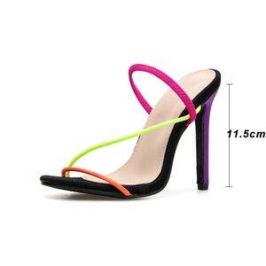 Image 2 - Kcenid 2020 nouvelle mode femme sandales ouvertes été sexy mince talons hauts robe dame chaussures sans lacet coloré fête sandales grande taille