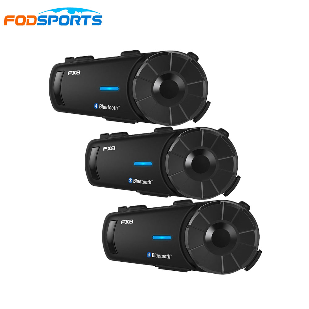 3pcs FX8 Fodsport 8 Rider Intercom Group Talk 1000m Bluetooth Wireless Helmet Earphone Motorcycle Intercom With FM Radio