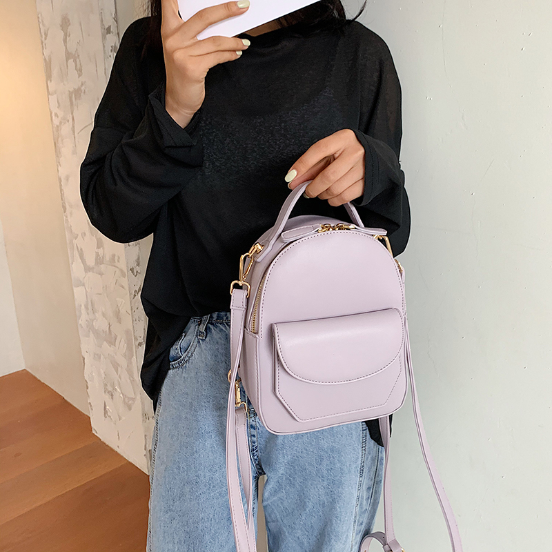 Solid Color Women Leather Backpack School Travel Bags 2020 New Simple Fashion Daily Bag Lady Shoulder Crossbody Bags Backpacks