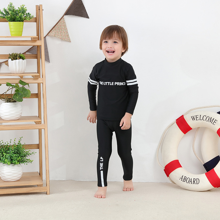 Children Two-piece Swimsuits Long-sleeved Black With Numbers 86 Long Pants-KID'S Swimwear Hot Springs Clothing
