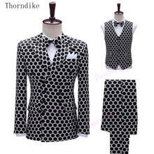 Blazer Party-Costumes Wedding-Jacket 3-Piece-Suit Thorndike Male Mens New-Fashion Singer