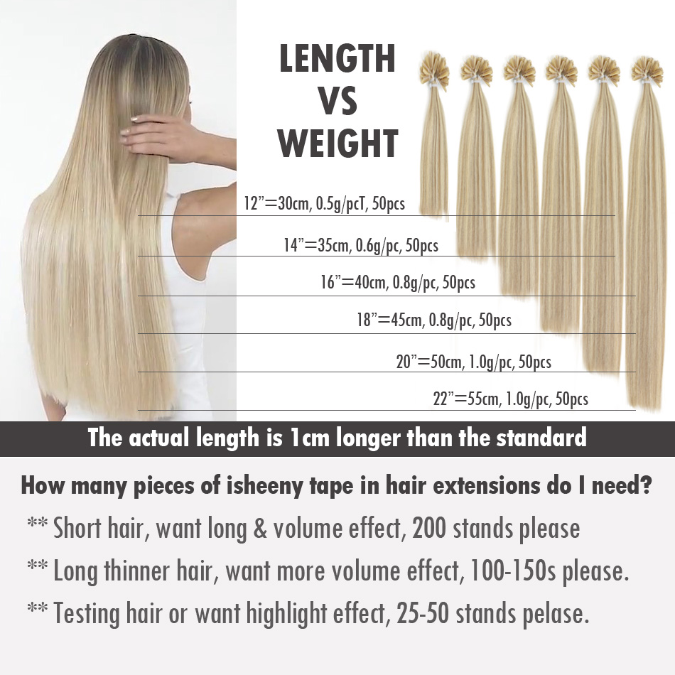 "Isheeny 12"" 14"" 18"" 20"" 22"" Fusion Hair Extensions 0.5g Remy Nail U Tip Straight Pre-Bonding Human Hair On Capsuel"