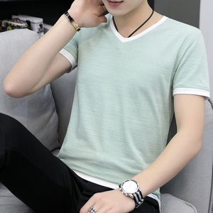 Image 4 - Summer mens short sleeve T shirt v neck han edition half sleeve to fix the body whose summer wear mens clothes