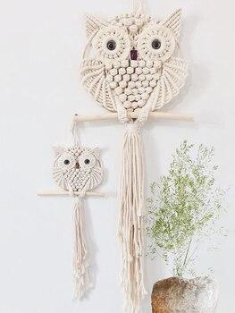 Owl Tapestry Hand-woven Owl Dream Catcher Wall Hanging Macrame Mandala Tassel Boho Decor Apartment Dorm Room Home Decoration