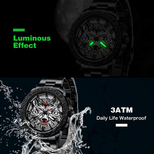 Image 3 - 2020 New Watch Men MEGALITH Wolf Head Embossed Quartz Watch Men Sport Waterproof Stainless Steel Wrist Watches Relogio Masculino
