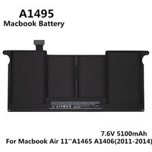 100% Original 7.6V 5100mAh Notebook Laptop A1495 A1406 Battery FOR Apple Macbook Air 11'' A1465 Mid 2011 2012 2013 Early 2014