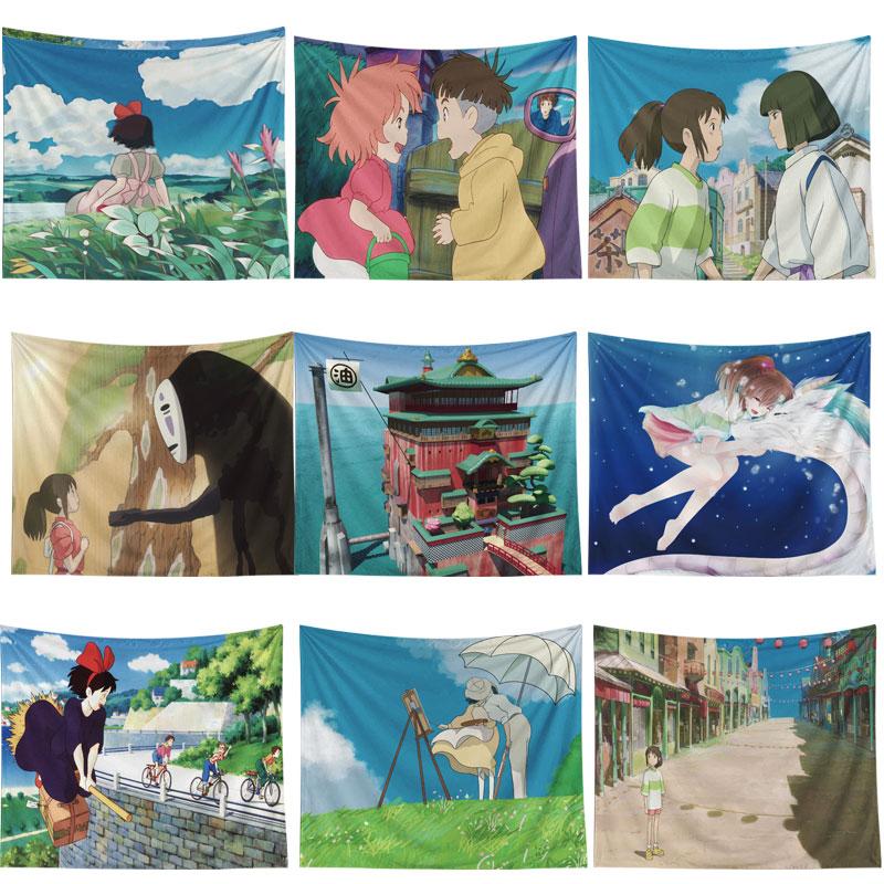 Hayao Miyazaki Anime Movie Totoro Print Tapestries Wall Hanging Sunflower Tapestry Decorative Blanket Carpet Boho Yoga Mat Decor