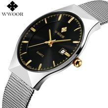 VIP WWOOR 8016 Ultra cienkie, modne męski zegarek Top marka luksusowe zegarki biznesowe wodoodporny zegarek męski odporny na zarysowania