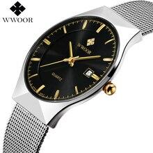 Ультратонкие Модные мужские наручные часы VIP WWOOR 8016, роскошные деловые часы ведущей марки, водонепроницаемые мужские часы с защитой от царапин