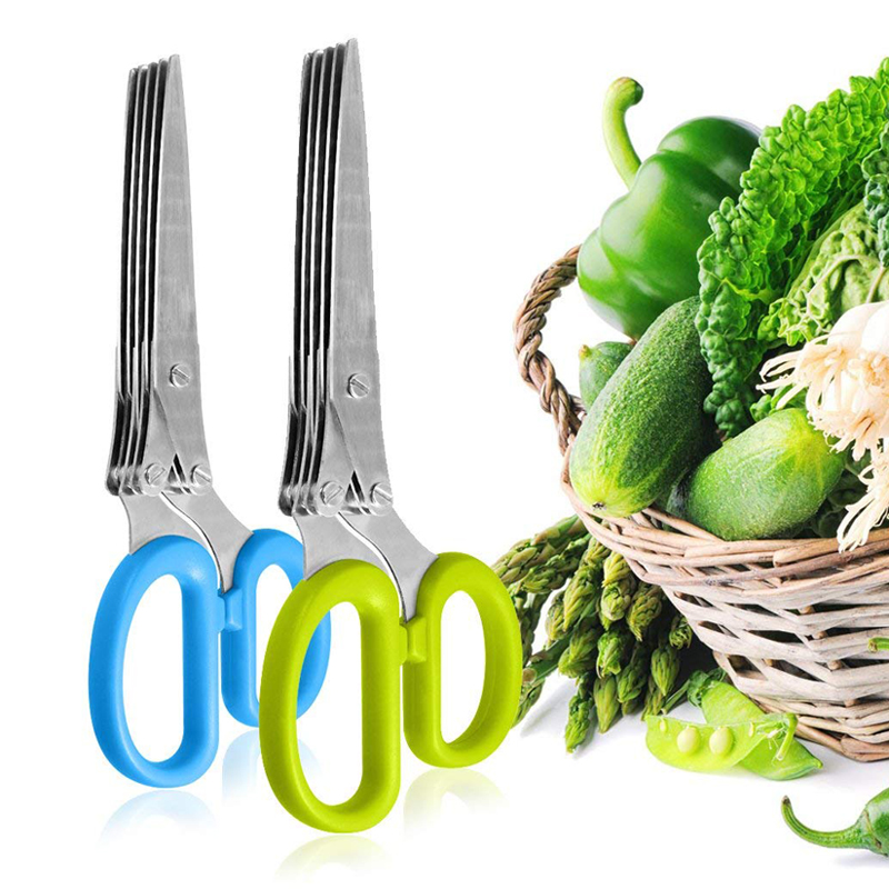 Multi-functional 5 Layer Herb Scissors Stainless Steel Scallion Scissors Kitchen Shears Knives Cutter Mincer Cooking Utensils (1)