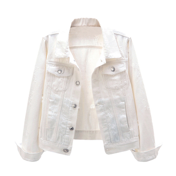 Casual Fashion Cotton Long Sleeve White Denim Jackets Women Spring Autumn Winter Denim Coats Jackets Female Plus Size Outerwear elf sack winter velvet embroidery zipper women padded coats straight plus size appliques fashion plaid womens cotton jackets