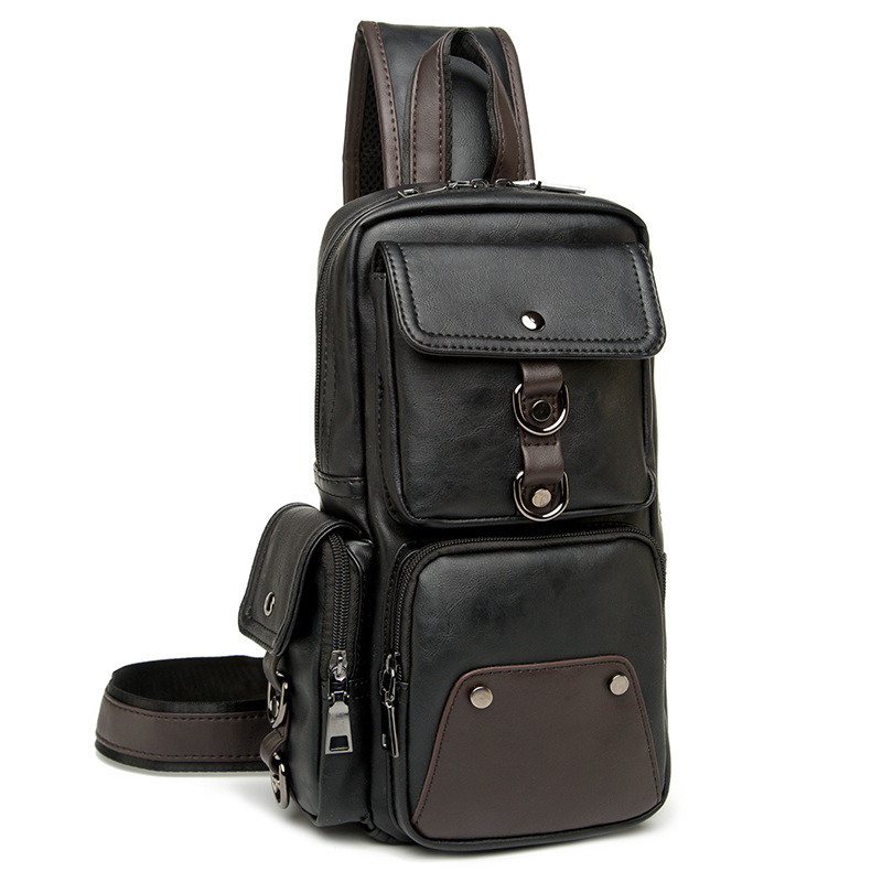 Высококачественная Мужская водонепроницаемая винтажная нагрудная сумка из искусственной кожи, модная дорожная сумка через плечо - 2