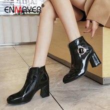 ENMAYER 2019 Ankle Boots for Women Pointed Toe Slip-On Basic PU Winter Boots Women Hoof Heels Short Plush Womens Shoes 34-43 цены онлайн