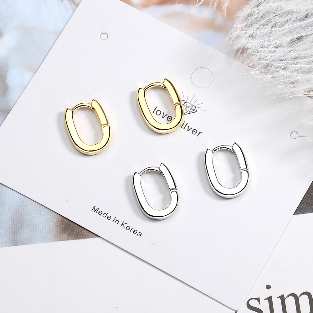 Unique Cool Punk 100% 925 Sterling Silver Retro Geometric Oval Luxury Engagement Hoop Earrings For Women Jewelry