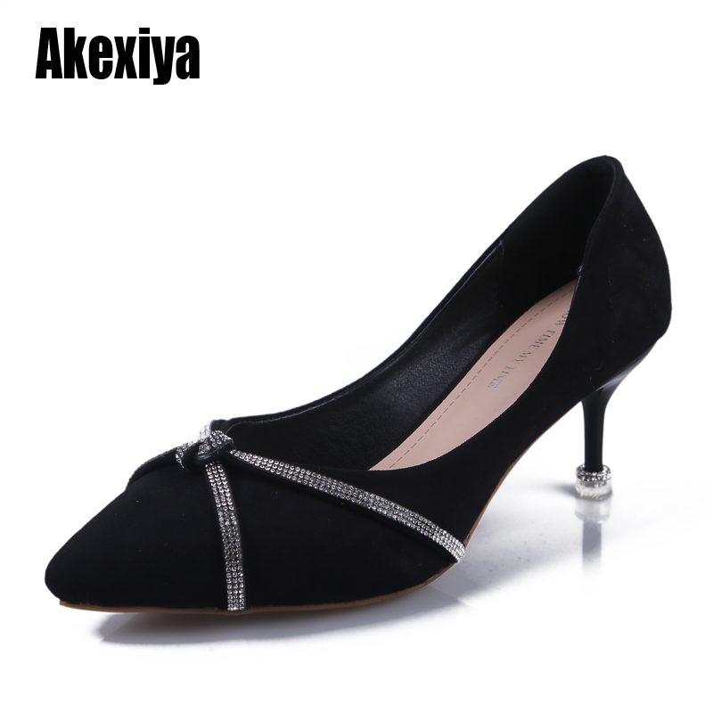 Pumps Women Black Girl High Heel Women's Fine With Fashion Shoes New Pointed Green Fresh Rhinestone Princess Shoes S293