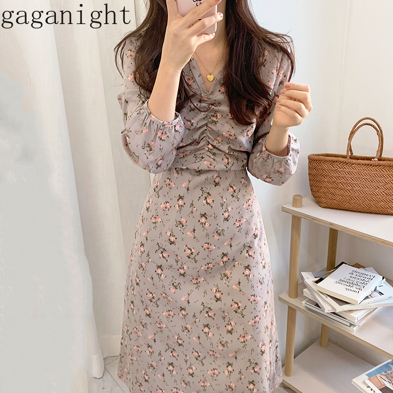 Gaganight Sweet Floral Women Bodycon Dress Long Sleeve V Neck Holiday Ladies Dresses Ruched Maxi Fashion Vestidos Chic Spring