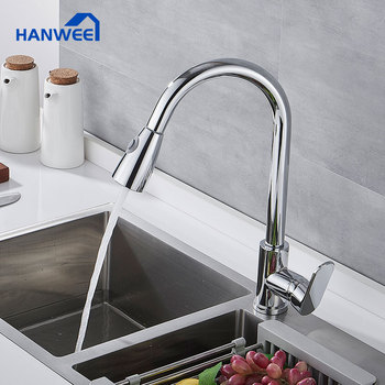 Hanwee Pull Out Kitchen Faucets  Chrome Kitchen Sink Mixer Tap Single Handle Water Mixer Tap Kitchen 360 Rotation Mixer Tap gappo kitchen faucets pull out kitchen single handle rotatable sink faucets water mixer water sink mixer tap robinet cuisine