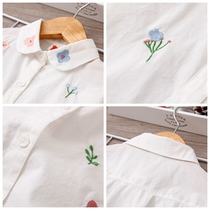 Image 5 - Girls Blouses Long Sleeve White Blouse Autumn 2020 Kids Clothes Girls 8 To 12 Cartoon Fox Embroidery Tops Cotton School Shirts