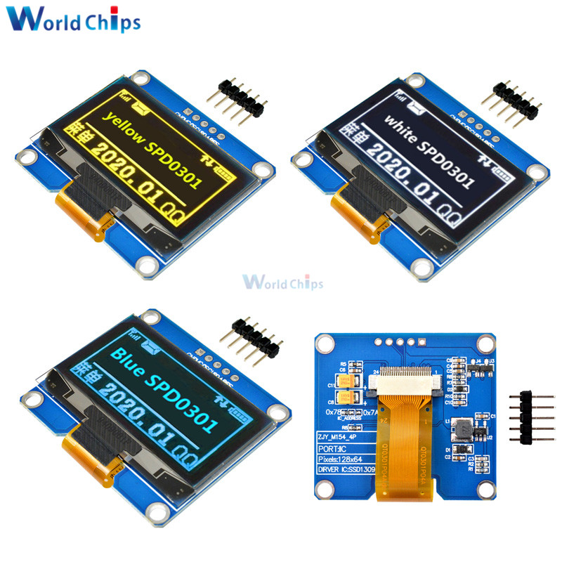 IPS 1.54 Inch 5Pin 128x64 OLED Screen Display Module SPI Interface SPD0301 Driver IC Adapter Board White Blue Yellow For Arduino