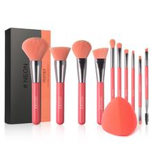 Docolor 10Pcs Makeup Brushes Professional Powder Foundation Eyeshadow Set and Neon Sponge Cosmetic Puff
