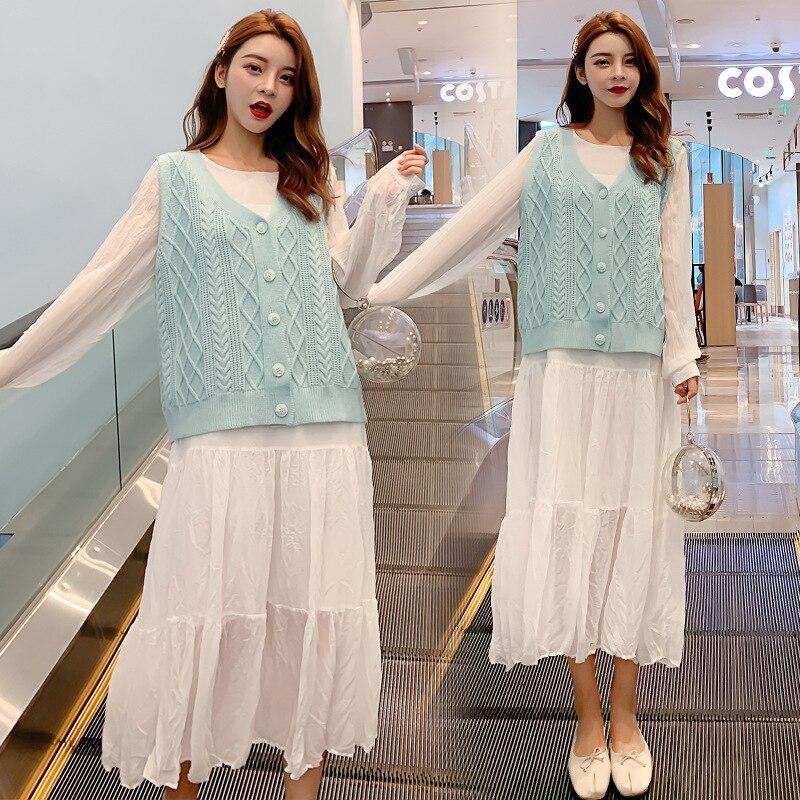 Shanghai New Europe Sang 2020 Autumn Large Size Chiffon Maxi Dress Vest Suit