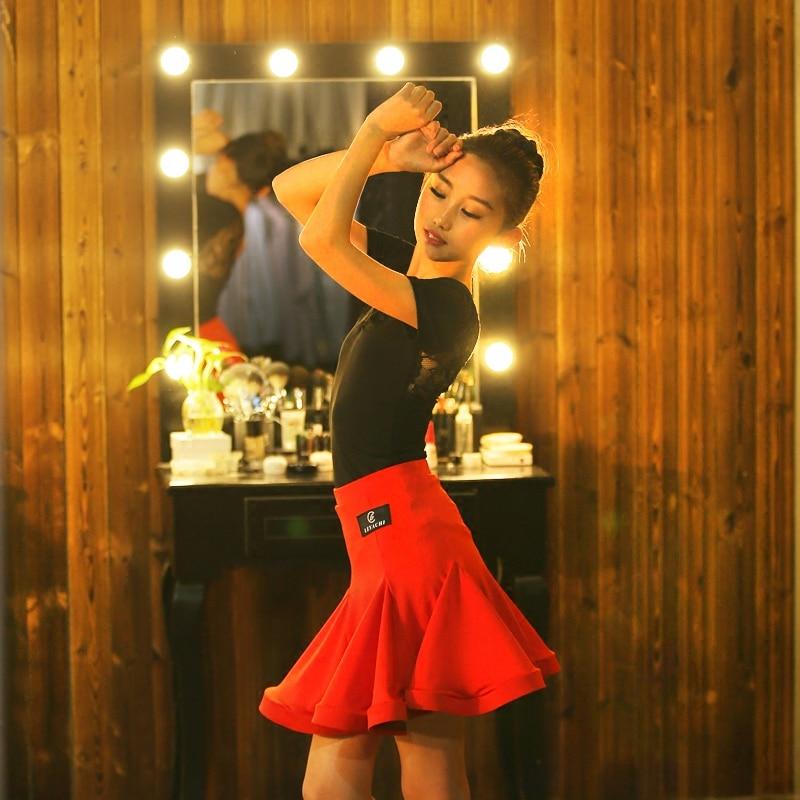Girls Competition Dance Dress New Short Sleev Tops Red Skirts Children  Cha Cha Rumba Samba Tango Performance Clothing DQS3766