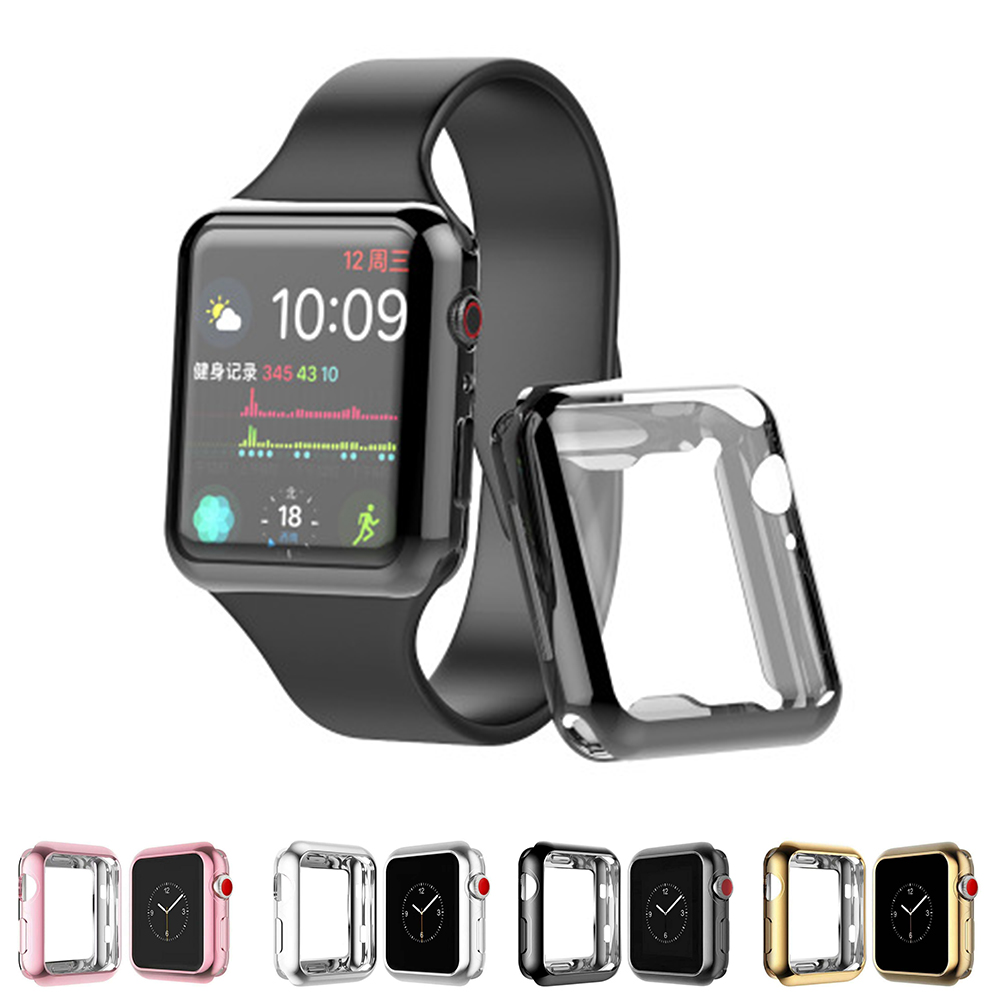 Watch-case for Apple watch 5/4 42mm 44mm TPU all-inclusive electroplating protective shell for iwatch 3/2/1 38 40mm accessories