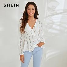 SHEIN White Surplice Neck Shirred Waist Peplum Wrap Floral Blouse Women Spring Tops Long Sleeve Casual Sheer Blouses