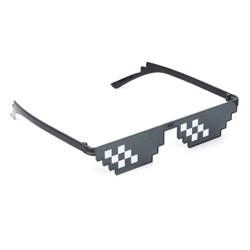 Thug Life Glasses Deal With It Glasses Pixel Women Men Black  Sunglasses 72XC