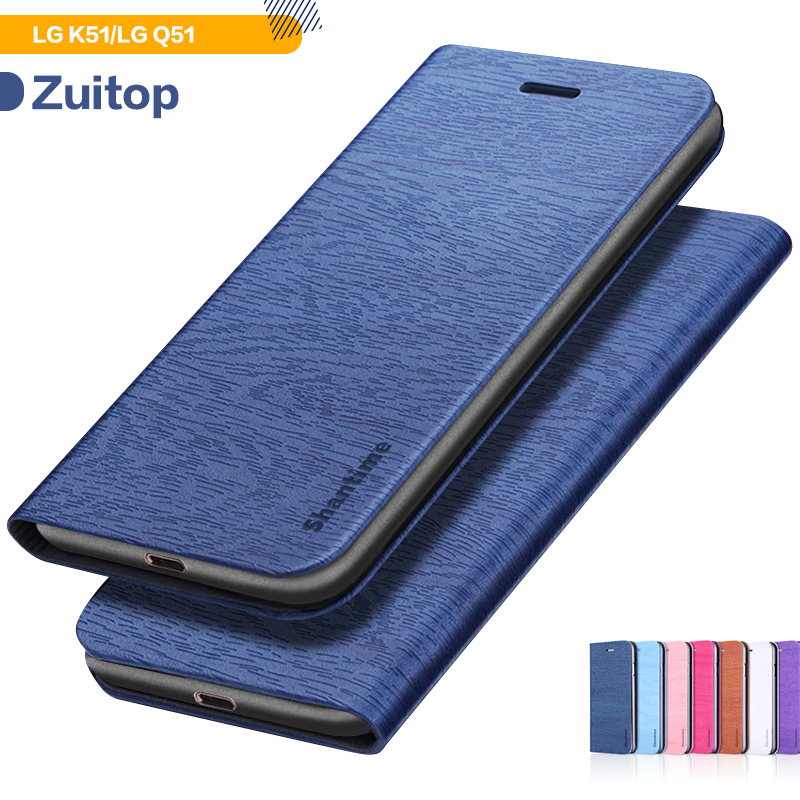 Wood Grain PU Leather Phone Case For LG K51 Flip Case For LG Q51 Business Wallet Case Soft Silicone Back Cover
