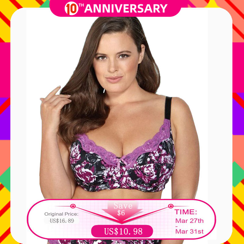 BL953P Women Bra 6 Colours Printing Floral No-padded Unlined Push Up Full Cup Plus Size 34 36 38 40 42 44 46 C D DD DDD E F G