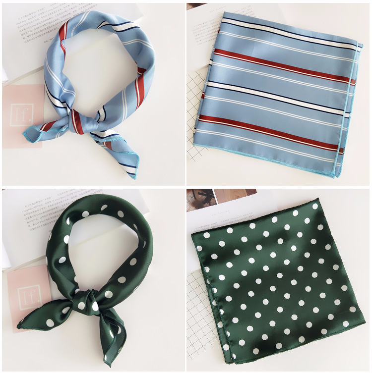 H5e32bf7423e943dfacbacd700d4fd6b6g - Square Scarf Hair Tie Band For Business Party Women Elegant Small Vintage Skinny Retro Head Neck Silk Satin Scarf
