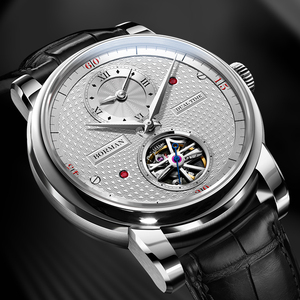 Image 5 - בורמן אוטומטי גברים שעון יוקרה מותג מכאני עצמי רוח שעוני יד רצועת עור שמלת relogio masculino הכפול אזור הזמן