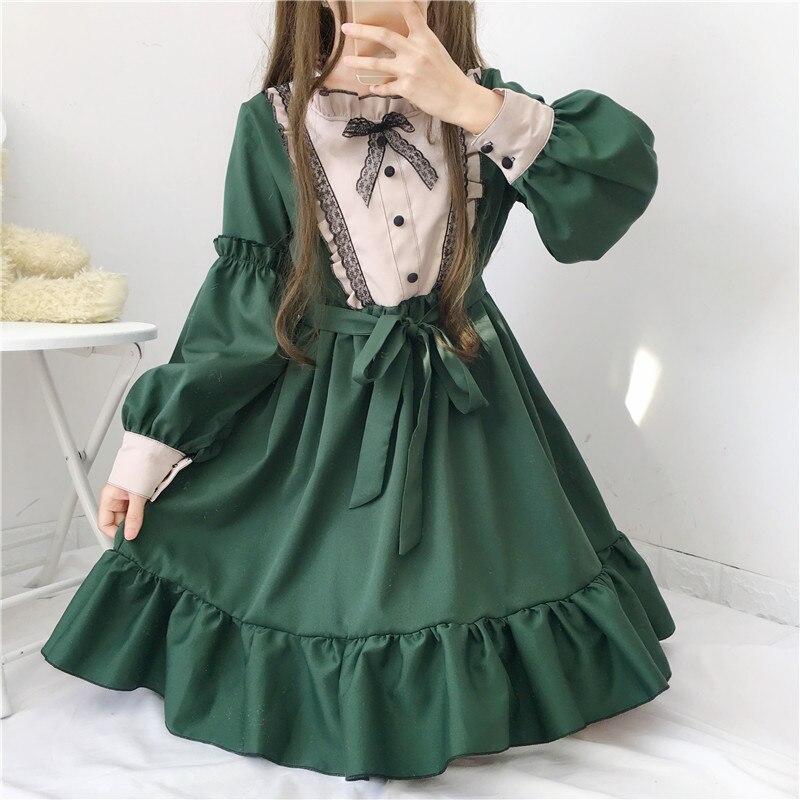 New Japanese Lovely Lolita Clothes Green Dress OP Ruffle Lolita Skirt Retro Gothic Victorian Dress Girls Kawaii Clothing 3702