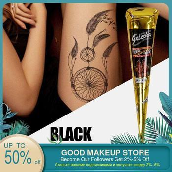 Pasta de tatuaje de Henna negra Natural para tatuajes temporales adhesivo decorativo para el cuerpo de Henna india, crema indolora para tatuajes