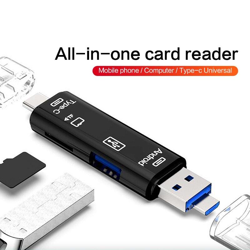 5 In 1 USB OTG Card Reader Universal Micro USB Type C OTG TF/SD Card Reader Phone Extension Headers Micro USB OTG Adapter