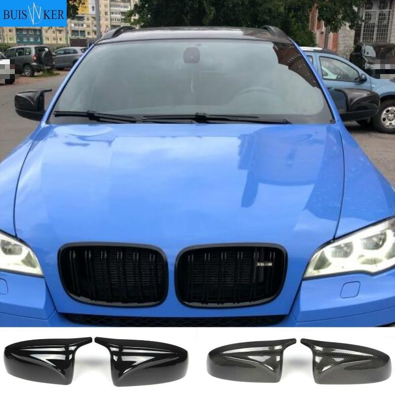 Углеродное волокно/ABS 2x зеркальная крышка X5 X6 автомобильная боковая крышка зеркала заднего вида крышка оболочка замена для BMW X5 X6 E70 E71 2007-2013