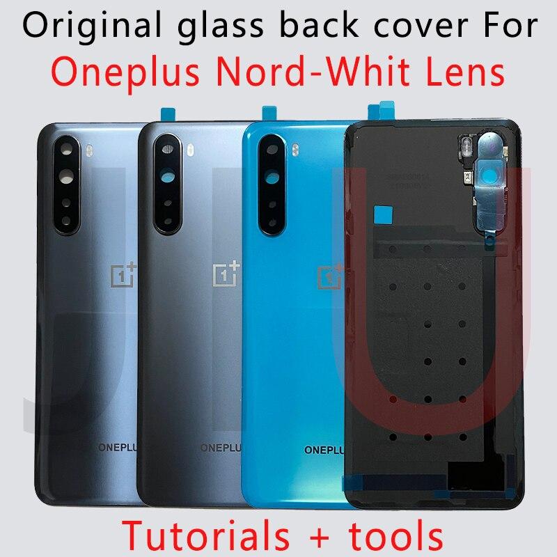 100% новый для OnePlus Nord Батарея женские босоножки с закрытой пяткой Стекло задняя дверь Корпус чехол задняя Панель Батарея крышка с клеем OnePlus ...