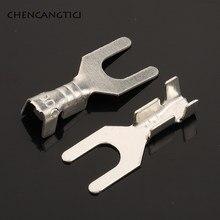 100 pces fork spade bloco terminal frio-pressionado desencapado 3.2mm friso pino terminal u/y-em forma de aterramento lug DJ4413-3.2B