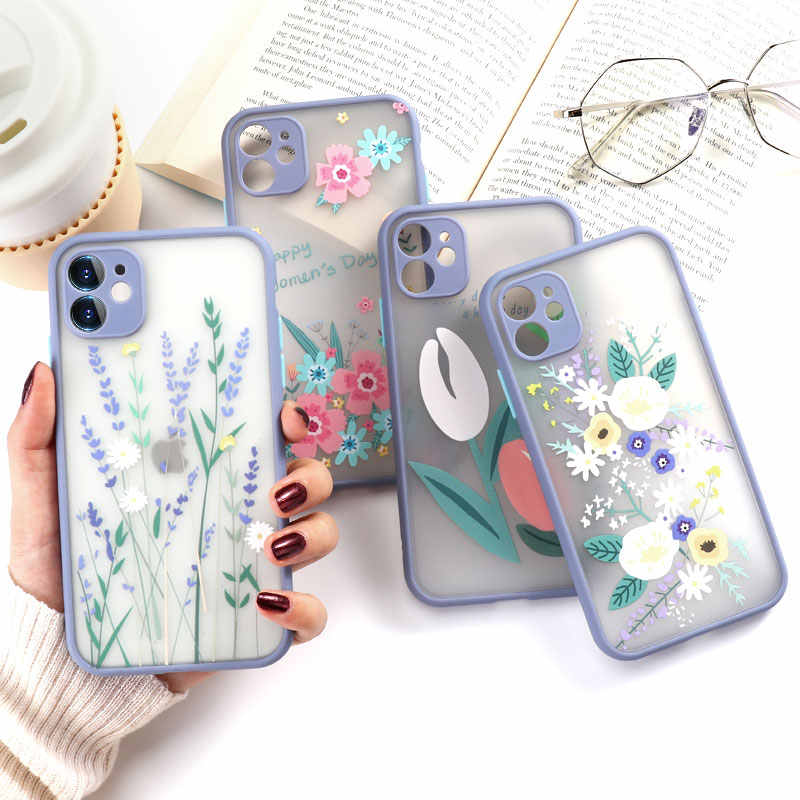 Luxury Flower Phone Case For Iphone 11 Case Hard PC Transparent Fundas For Iphone 7 8 XR SE 2020 XS Max 11 Pro X 6 6s Plus Cover