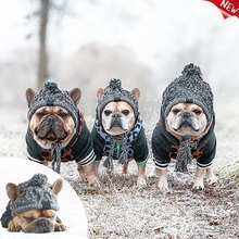 Winter Warm Dog Hats Windproof Knitting French Bulldog Hat for Dogs Chihuahua Hat Fluffy Ball Puppy Accessories Pet Hat