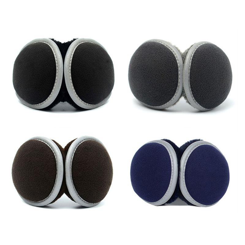 Unisex Winter Polar Fleece Earmuffs With Reflecitve Strip Men Women Casual Outdoor Plush Lining Ear Cover Behind Head Ear Warmer