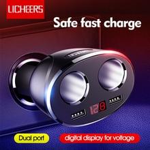 Licheers Autolader Dual Port 12 24V Auto Sigarettenaansteker Oplader Voor iPhone X Samsung Dual USB Display snelle Telefoon Opladen