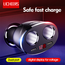 Licheers Car Charger Dual Port 12 24V รถชาร์จบุหรี่ไฟแช็กสำหรับ iPhone X Samsung Dual USB จอแสดงผลชาร์จโทรศัพท์ได้อย่างรวดเร็ว