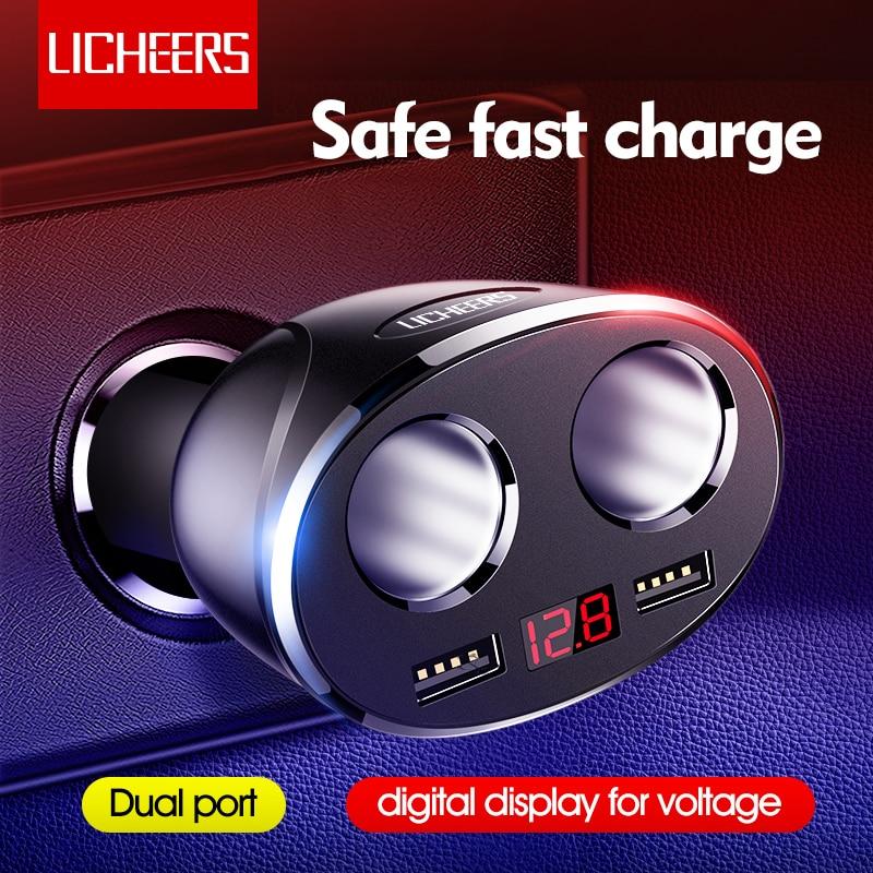 Otomobiller ve Motosikletler'ten Güç Adaptörü'de Licheers araba şarjı çift bağlantı noktası 12 24V araç çakmak iphone şarj cihazı X Samsung çift USB ekran hızlı telefon şarj title=