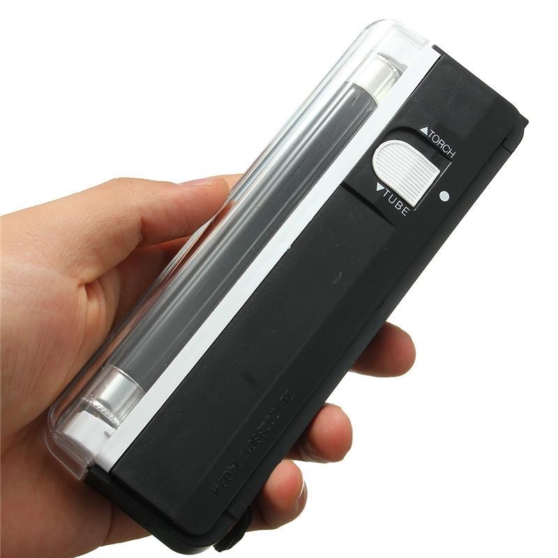 6V Portable Battery Powered Ultraviolet Lamp 2in1 Flashing Torch Blacklight UV Light Tube Bulb Handheld Money Detector