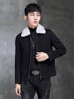 Spring Autumn Wool Coat Men Double sided Alpaca Jacket Mink Fur Collar Mens Coats and Jackets Overcoat 1970B KJ3859