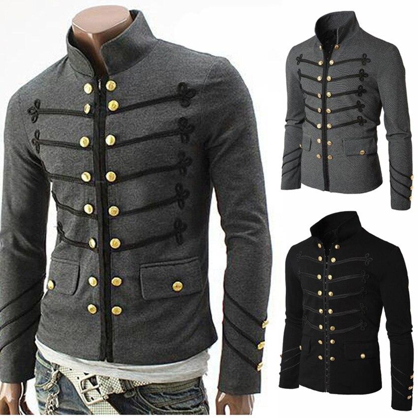 2019 Vintage Solid Men Gothic Jacket Steampunk Tunic Rock Frock Uniform Male Vintage Punk Costume Metal Military Coat Outwear