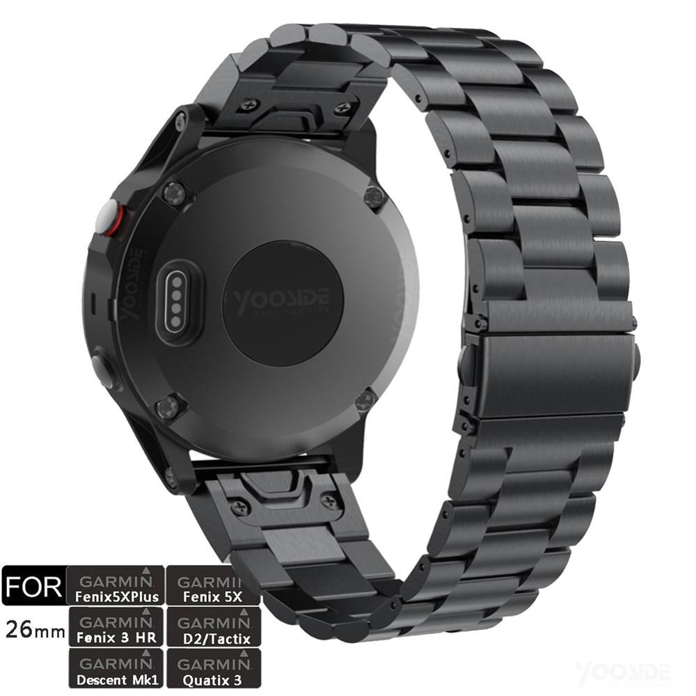 Fenix 5X/Fenix 6X 26mm Quick Fit Stainless Steel Metal Watch Band Strap For Garmin Fenix 5X Plus/Fenix 3/3 HR/D2 Delta PX